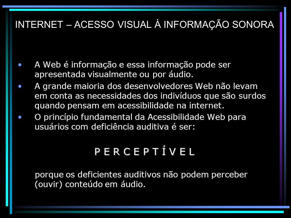 INTERNET – ACESSO VISUAL À INFORMAÇÃO SONORA