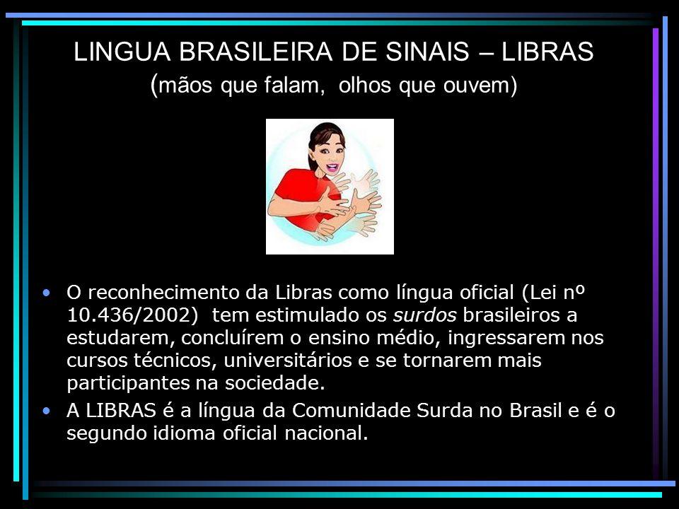 LINGUA BRASILEIRA DE SINAIS – LIBRAS (mãos que falam, olhos que ouvem)