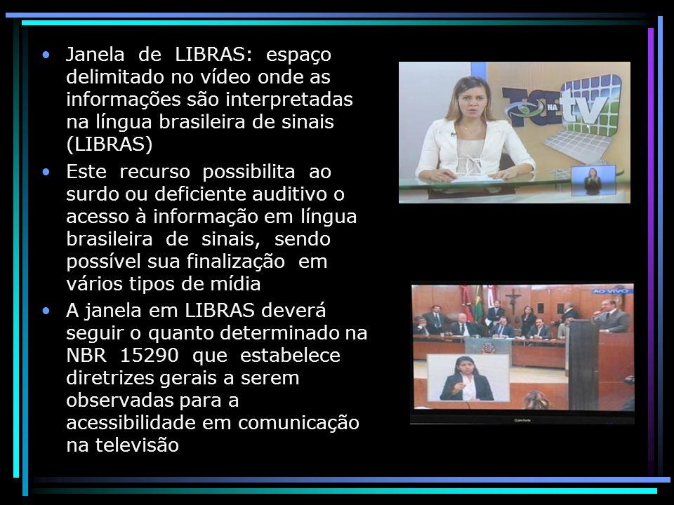 Janela de LIBRAS: espaço delimitado no vídeo onde as informações são interpretadas na língua brasileira de sinais (LIBRAS)