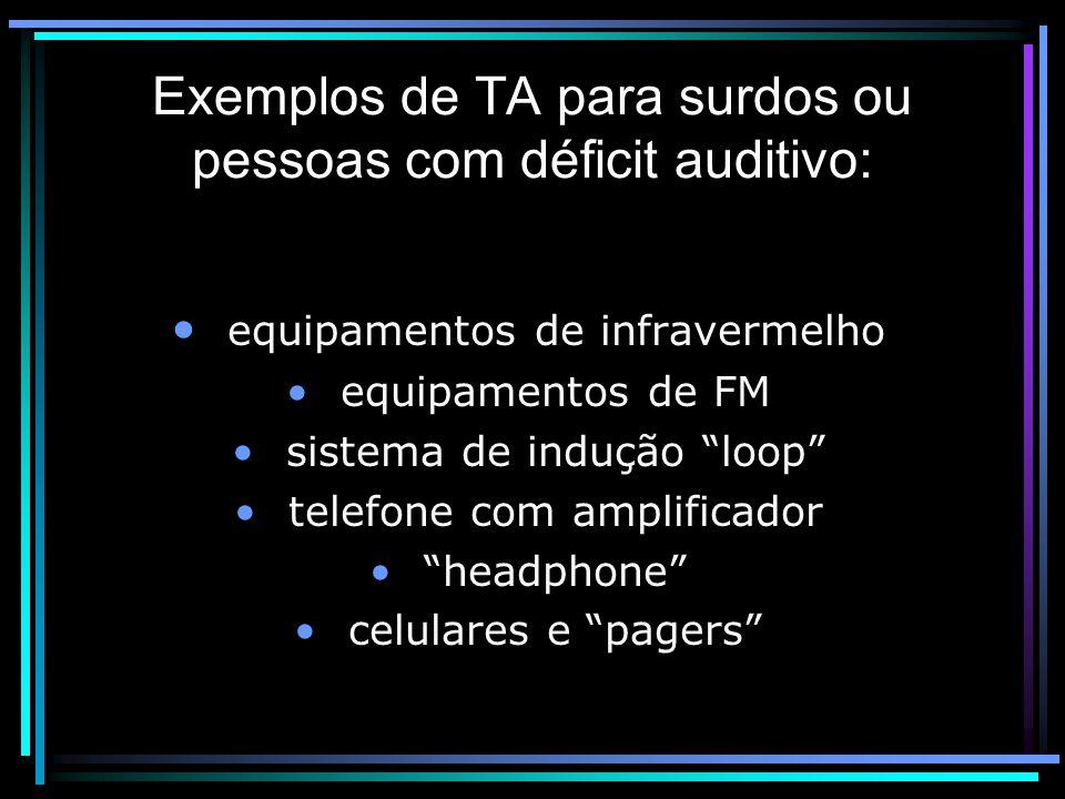 Exemplos de TA para surdos ou pessoas com déficit auditivo: