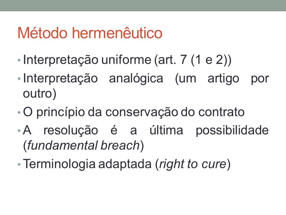 Método hermenêutico Interpretação uniforme (art. 7 (1 e 2))