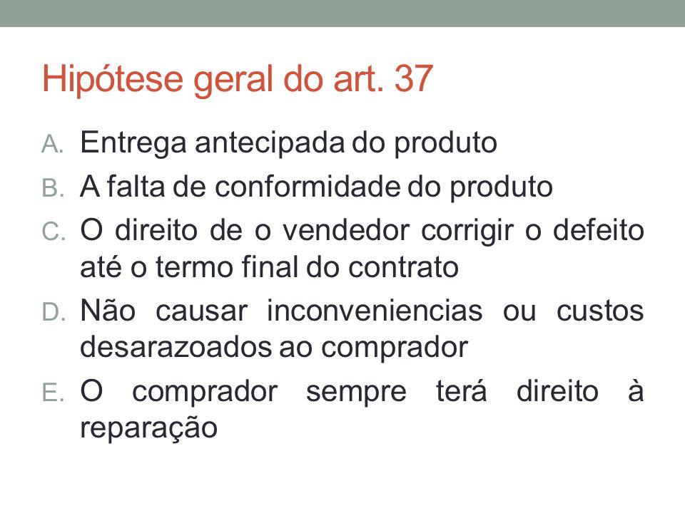 Hipótese geral do art. 37 Entrega antecipada do produto