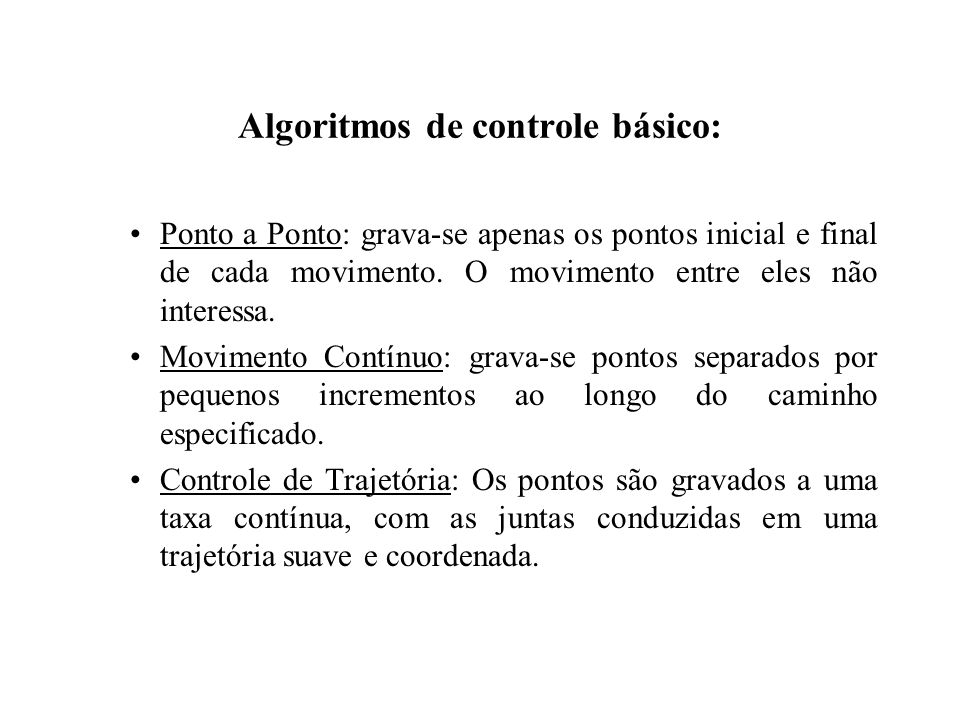 Algoritmos de controle básico: