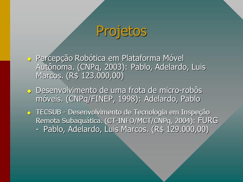 Projetos Percepção Robótica em Plataforma Móvel Autônoma. (CNPq, 2003): Pablo, Adelardo, Luis Marcos. (R$ 123.000,00)
