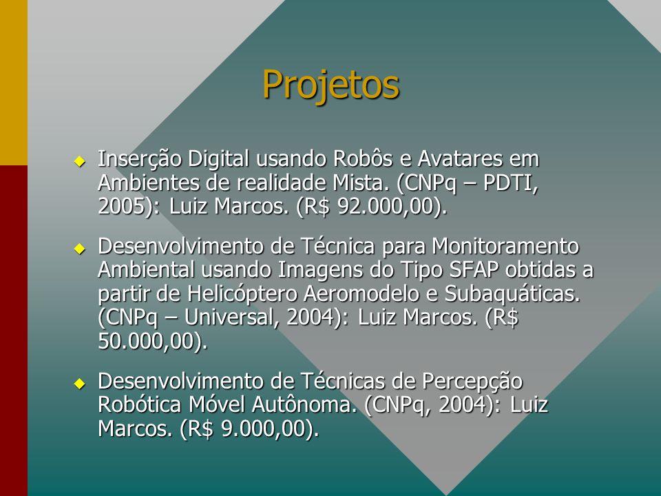 Projetos Inserção Digital usando Robôs e Avatares em Ambientes de realidade Mista. (CNPq – PDTI, 2005): Luiz Marcos. (R$ 92.000,00).