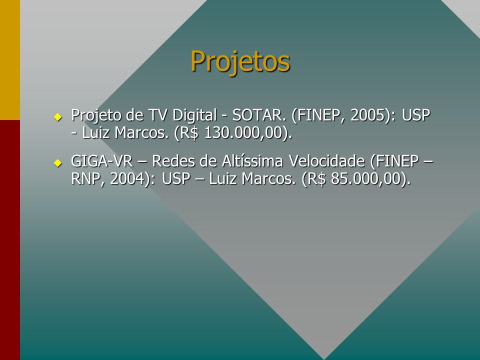 Projetos Projeto de TV Digital - SOTAR. (FINEP, 2005): USP - Luiz Marcos. (R$ 130.000,00).
