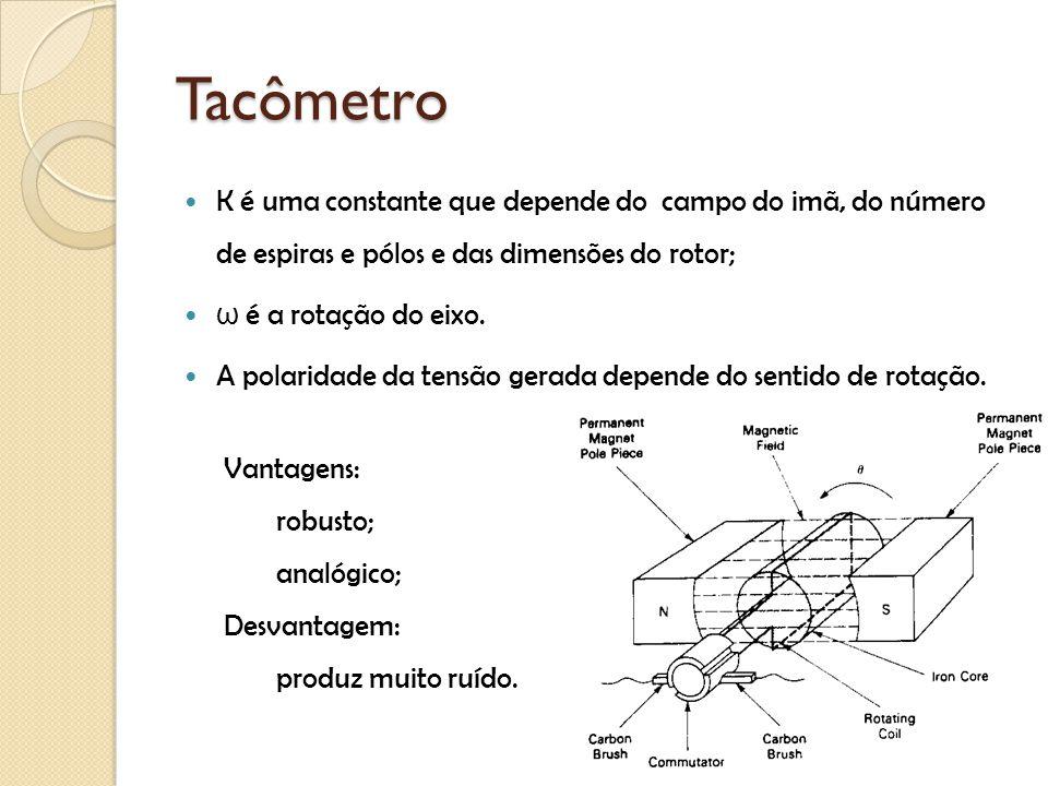 Tacômetro K é uma constante que depende do campo do imã, do número de espiras e pólos e das dimensões do rotor;