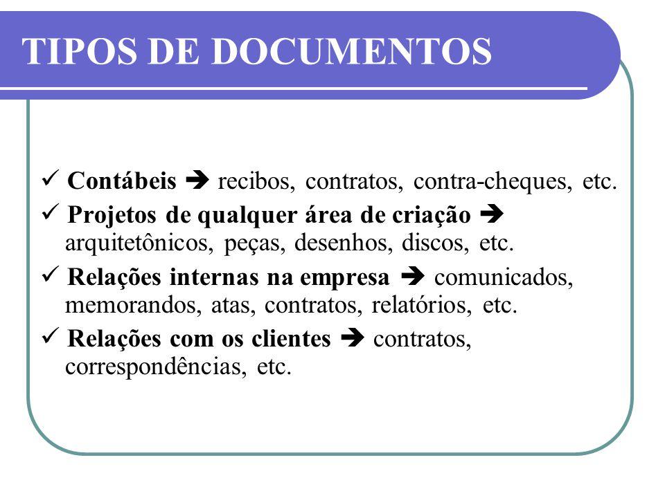 TIPOS DE DOCUMENTOS  Contábeis  recibos, contratos, contra-cheques, etc.