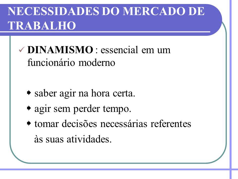 NECESSIDADES DO MERCADO DE TRABALHO