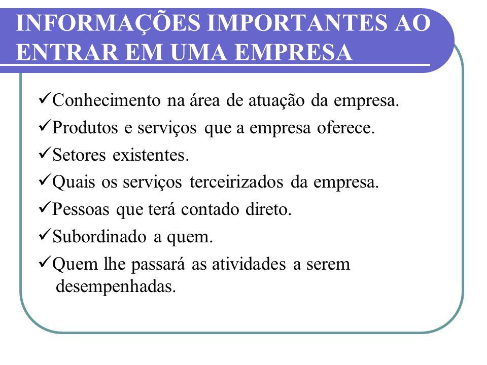 INFORMAÇÕES IMPORTANTES AO ENTRAR EM UMA EMPRESA