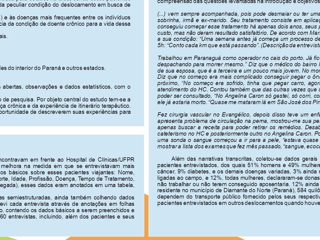 Doenças crônicas e deslocamentos: o caso dos pacientes viajantes em tratamento no Hospital de Clínicas/UFPR. Alexandre Pilan Zanoni Iniciação Científica (PIBIQ/CNPq) Orientador: Prof. Dr. Jose Miguel Rasia