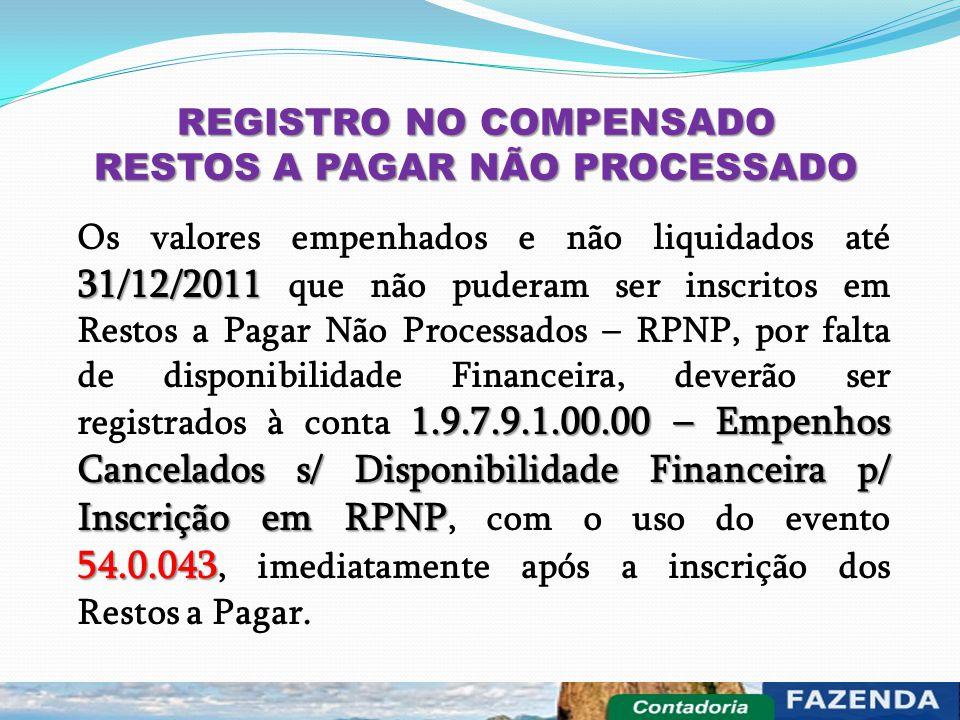 REGISTRO NO COMPENSADO RESTOS A PAGAR NÃO PROCESSADO