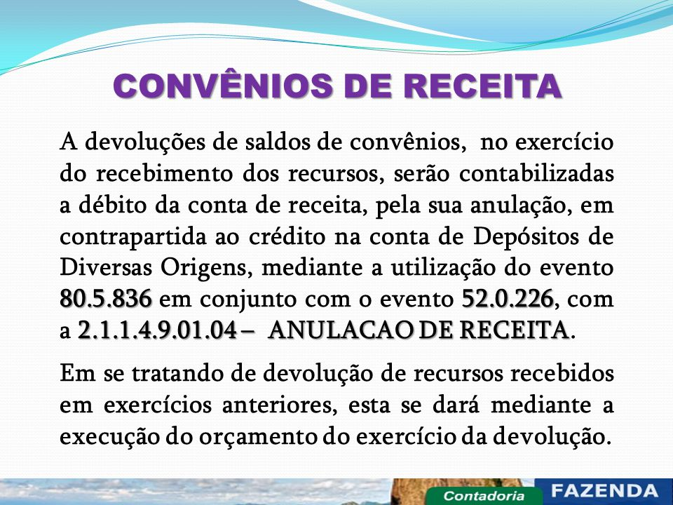 CONVÊNIOS DE RECEITA