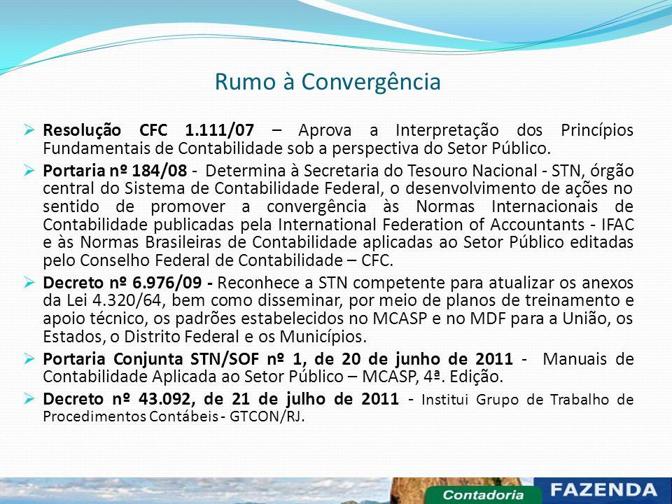 Rumo à Convergência Resolução CFC 1.111/07 – Aprova a Interpretação dos Princípios Fundamentais de Contabilidade sob a perspectiva do Setor Público.