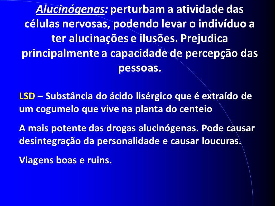 Alucinógenas: perturbam a atividade das células nervosas, podendo levar o indivíduo a ter alucinações e ilusões. Prejudica principalmente a capacidade de percepção das pessoas.