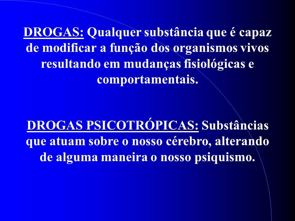 DROGAS: Qualquer substância que é capaz de modificar a função dos organismos vivos resultando em mudanças fisiológicas e comportamentais.