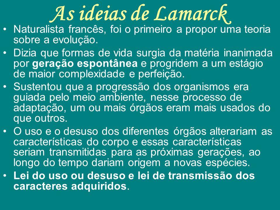As ideias de Lamarck Naturalista francês, foi o primeiro a propor uma teoria sobre a evolução.