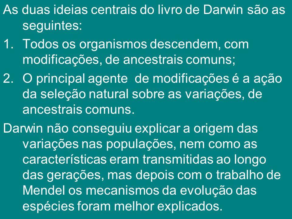 As duas ideias centrais do livro de Darwin são as seguintes: