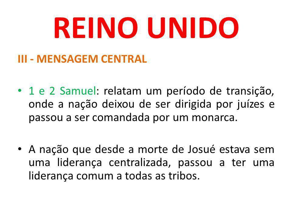 REINO UNIDO III - MENSAGEM CENTRAL