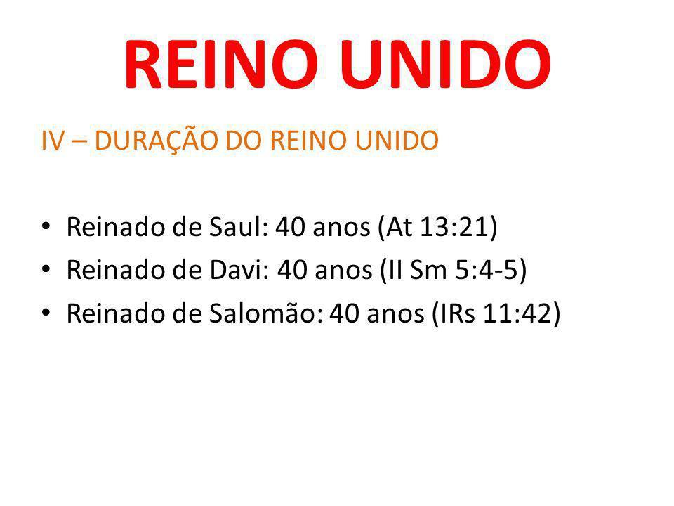REINO UNIDO IV – DURAÇÃO DO REINO UNIDO