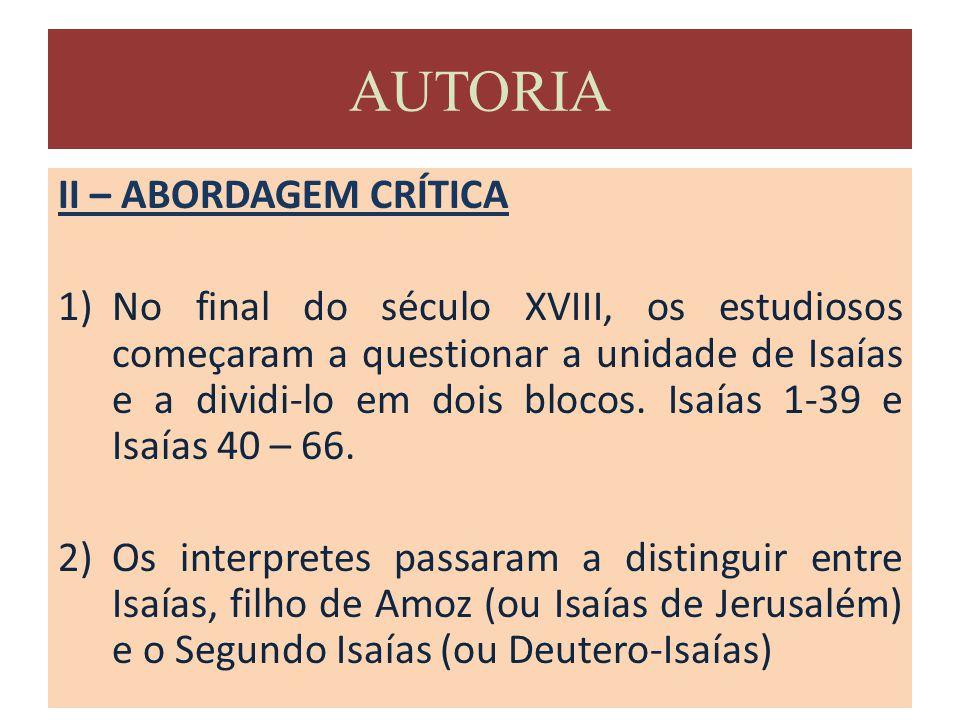 AUTORIA II – ABORDAGEM CRÍTICA