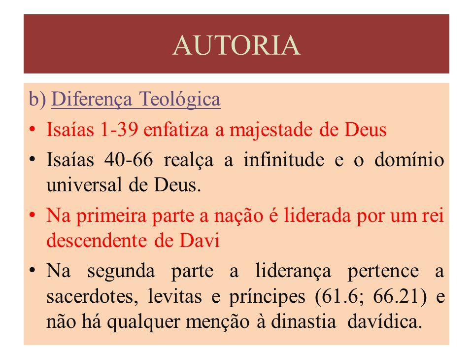 AUTORIA b) Diferença Teológica