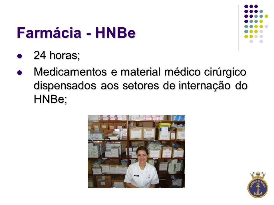 Farmácia - HNBe 24 horas; Medicamentos e material médico cirúrgico dispensados aos setores de internação do HNBe;