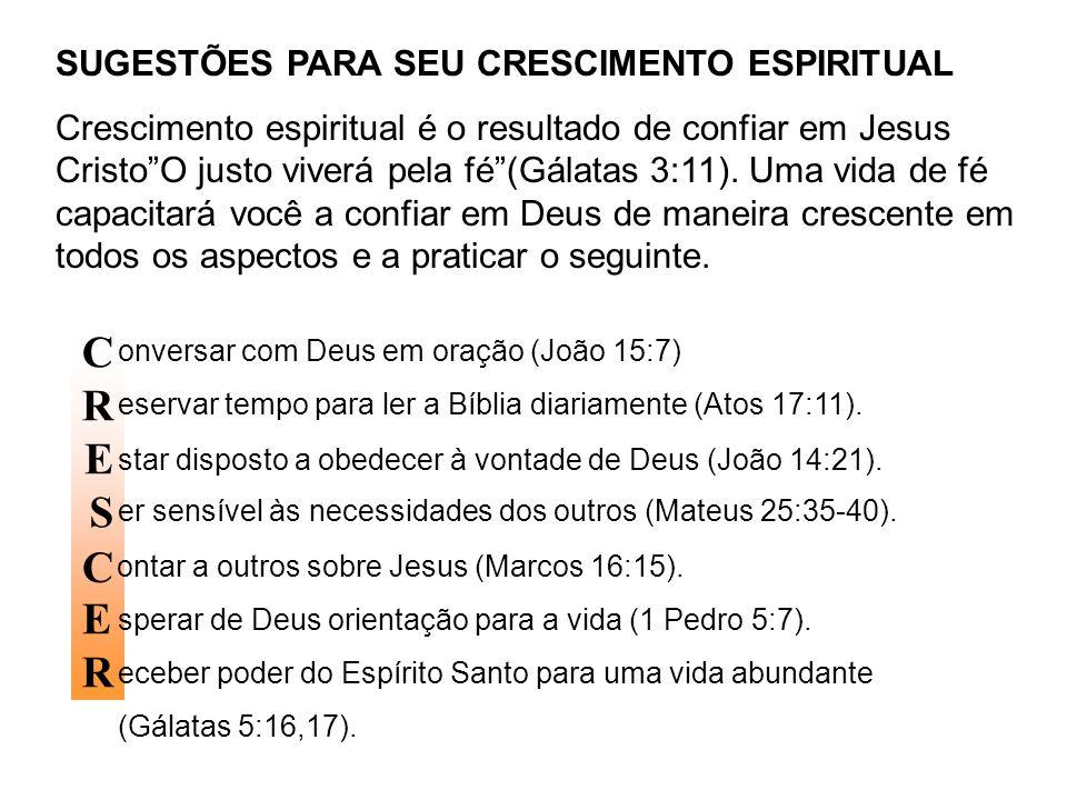 C R E S C E R SUGESTÕES PARA SEU CRESCIMENTO ESPIRITUAL