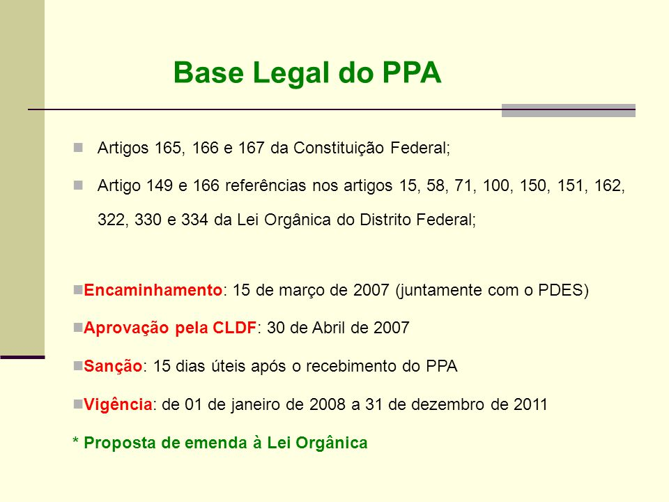 Base Legal do PPA Artigos 165, 166 e 167 da Constituição Federal;