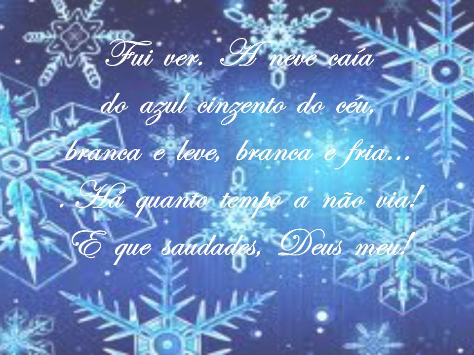 Fui ver. A neve caía do azul cinzento do céu, branca e leve, branca e fria… .