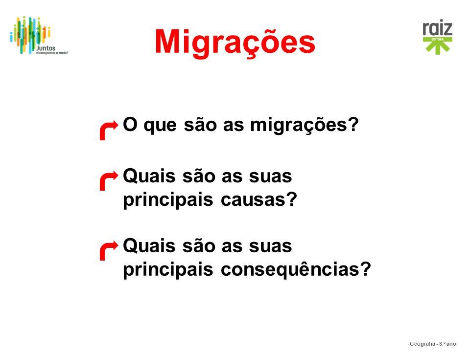 Migrações O que são as migrações Quais são as suas principais causas