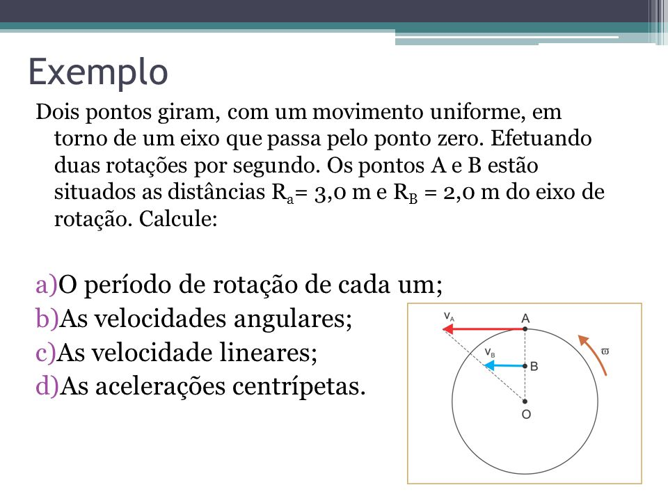 Exemplo O período de rotação de cada um; As velocidades angulares;