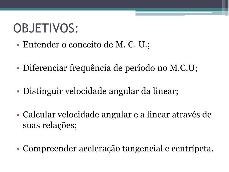 OBJETIVOS: Entender o conceito de M. C. U.;