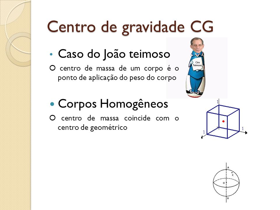 Centro de gravidade CG Caso do João teimoso Corpos Homogêneos