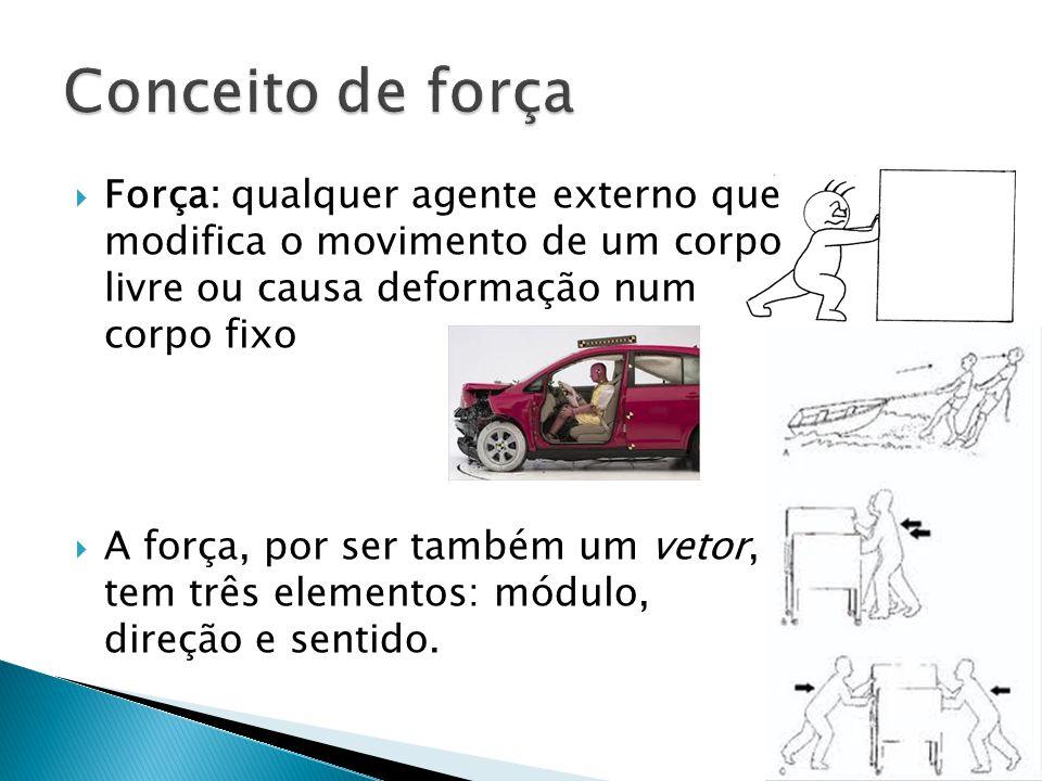 Conceito de força Força: qualquer agente externo que modifica o movimento de um corpo livre ou causa deformação num corpo fixo.
