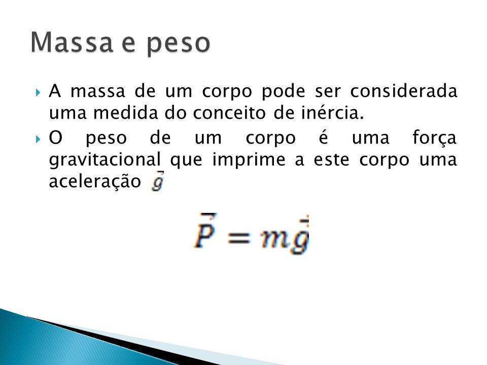 Massa e peso A massa de um corpo pode ser considerada uma medida do conceito de inércia.