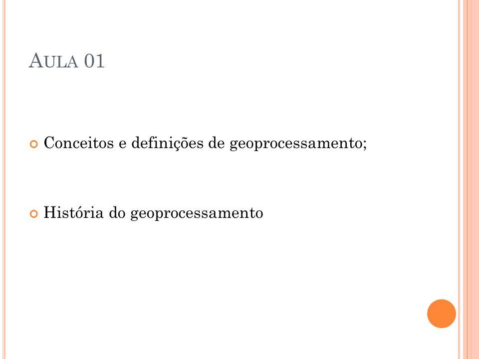Aula 01 Conceitos e definições de geoprocessamento;