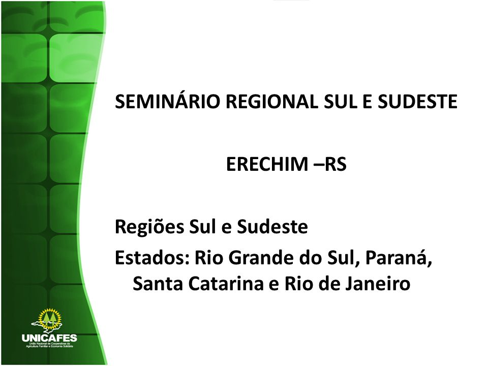 SEMINÁRIO REGIONAL SUL E SUDESTE ERECHIM –RS Regiões Sul e Sudeste Estados: Rio Grande do Sul, Paraná, Santa Catarina e Rio de Janeiro