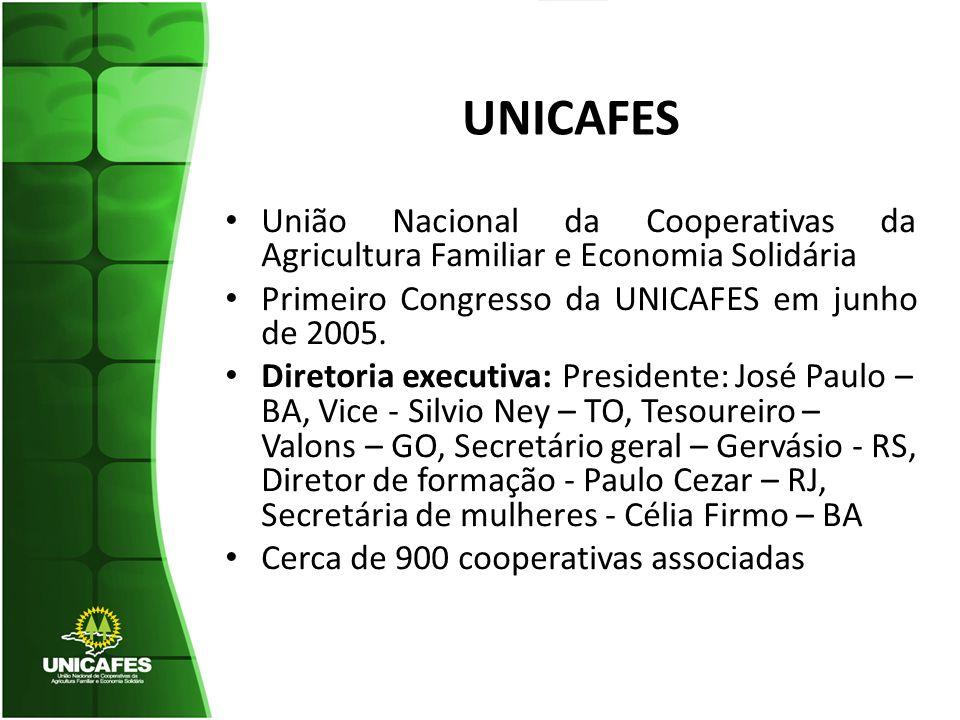UNICAFES União Nacional da Cooperativas da Agricultura Familiar e Economia Solidária. Primeiro Congresso da UNICAFES em junho de 2005.