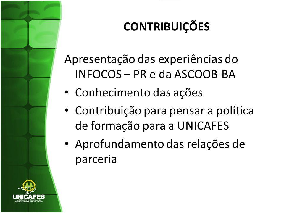 CONTRIBUIÇÕES Apresentação das experiências do INFOCOS – PR e da ASCOOB-BA. Conhecimento das ações.