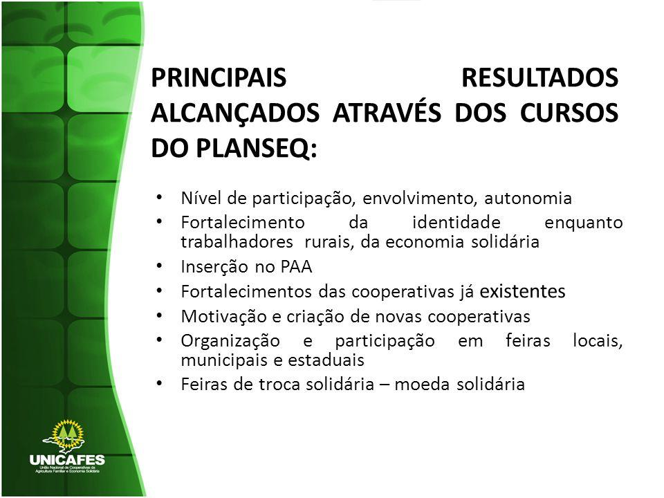 PRINCIPAIS RESULTADOS ALCANÇADOS ATRAVÉS DOS CURSOS DO PLANSEQ: