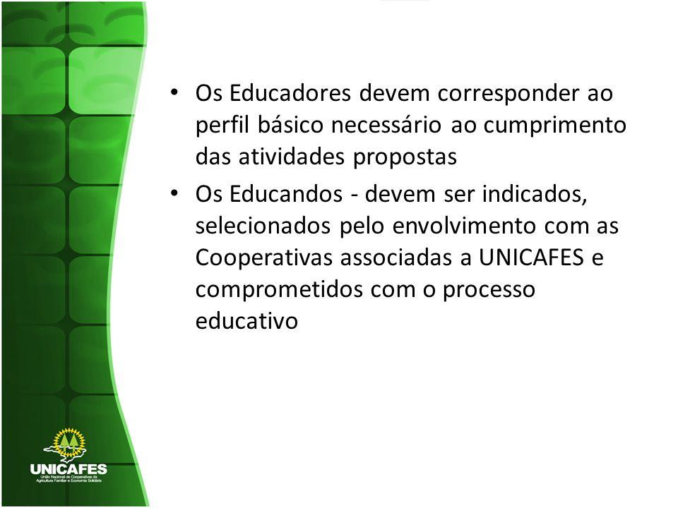 Os Educadores devem corresponder ao perfil básico necessário ao cumprimento das atividades propostas