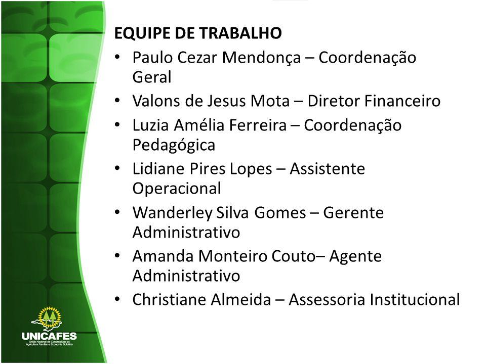 EQUIPE DE TRABALHO Paulo Cezar Mendonça – Coordenação Geral. Valons de Jesus Mota – Diretor Financeiro.
