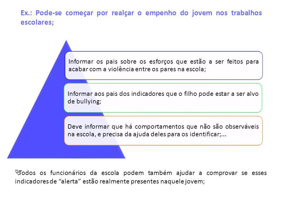 Ex.: Pode-se começar por realçar o empenho do jovem nos trabalhos escolares;