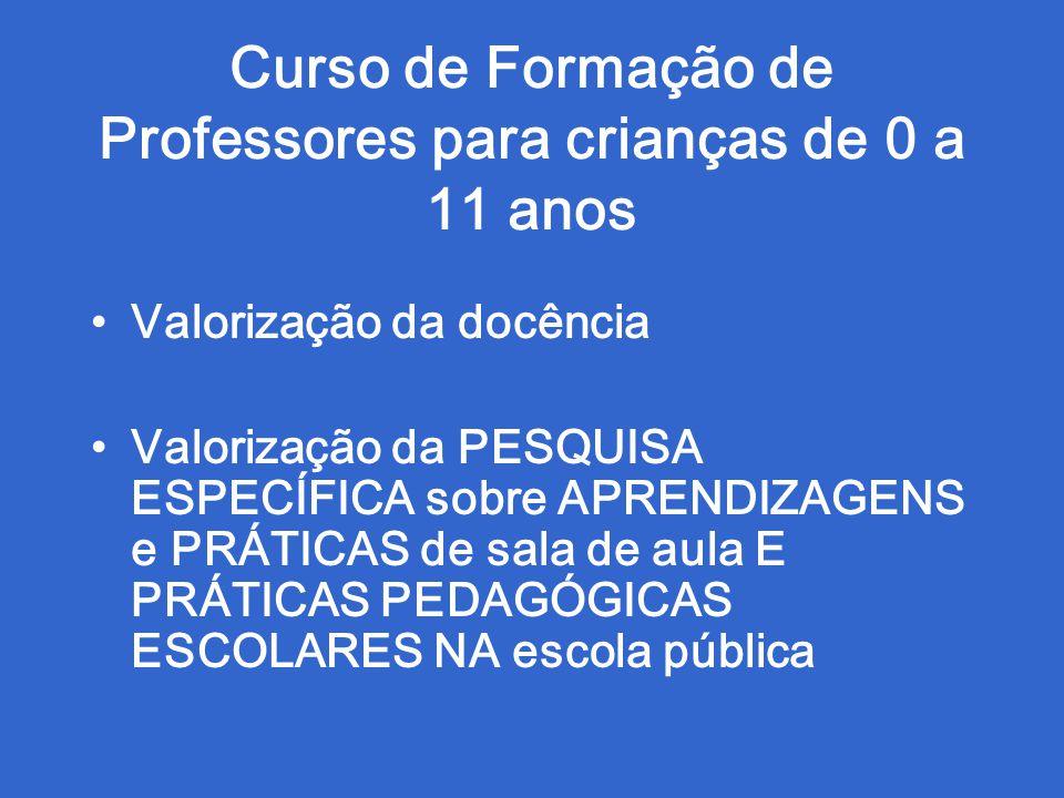 Curso de Formação de Professores para crianças de 0 a 11 anos