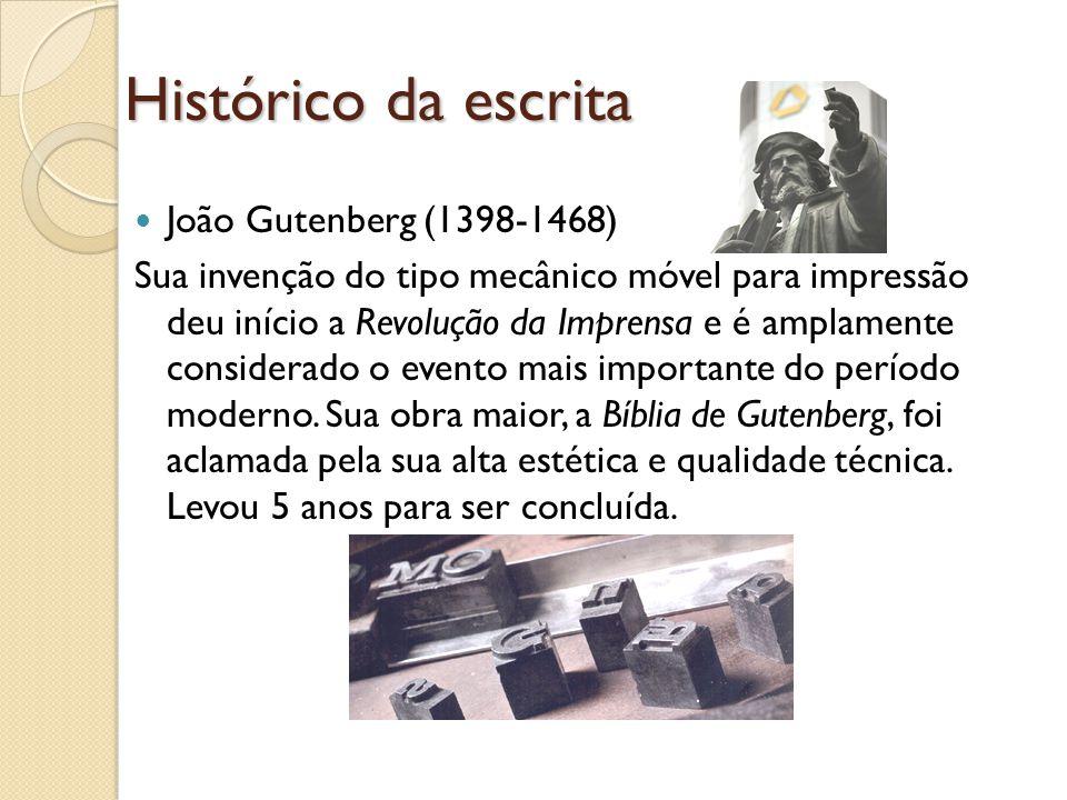 Histórico da escrita João Gutenberg (1398-1468)