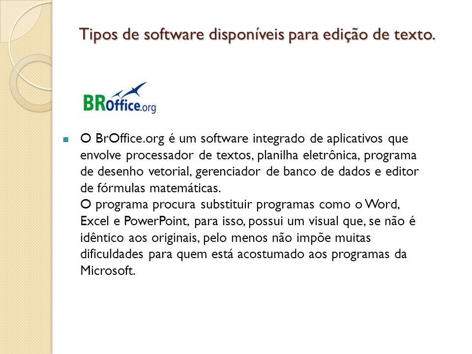 Tipos de software disponíveis para edição de texto.