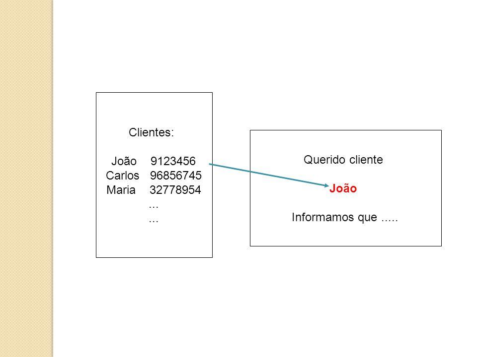 Clientes: João 9123456. Carlos 96856745. Maria 32778954.