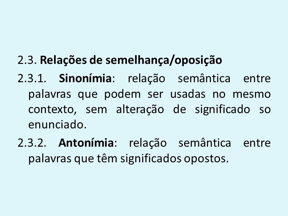 2. 3. Relações de semelhança/oposição 2. 3. 1