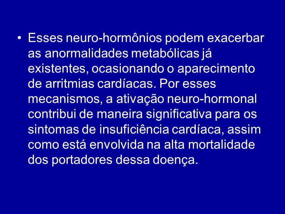 Esses neuro-hormônios podem exacerbar as anormalidades metabólicas já existentes, ocasionando o aparecimento de arritmias cardíacas.